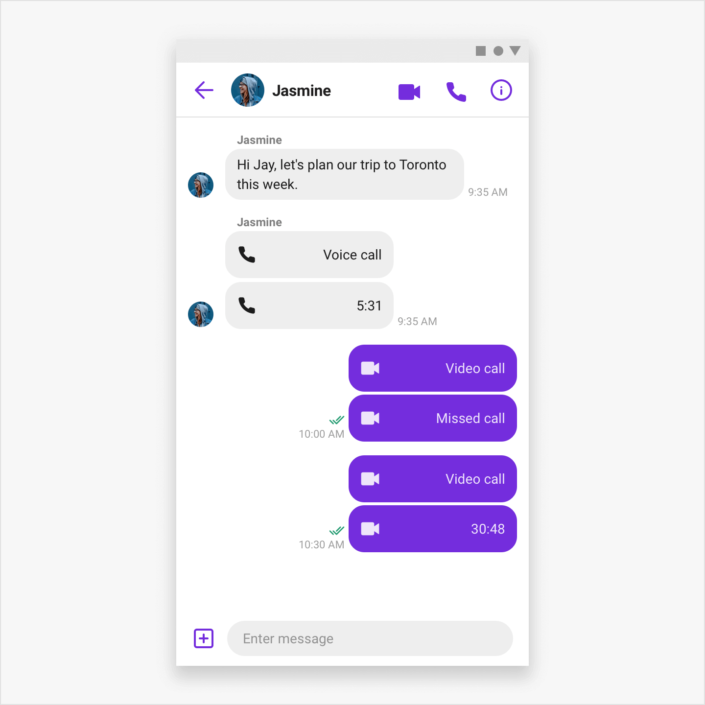 Image|Showing Calls integration to Chat view