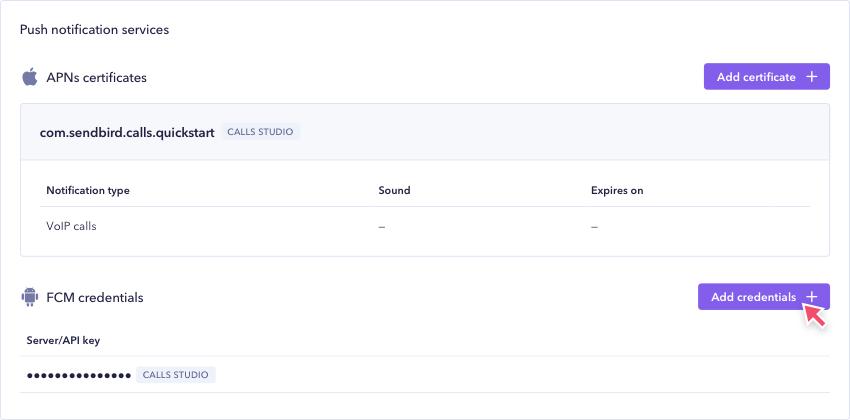 Adding your server key for FCM in Sendbird Dashboard.