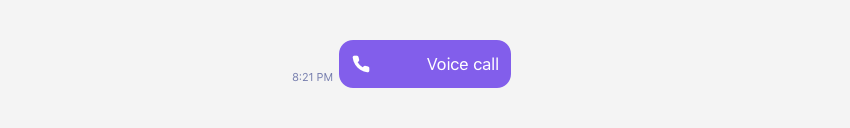 Showing an UI component of an outgoing voice call.
