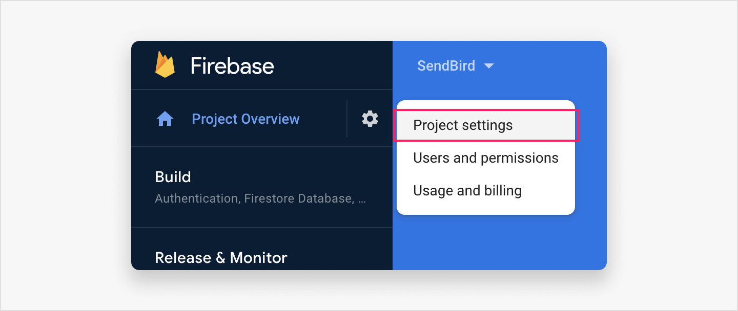Opening project settings to configure your Firebase project.