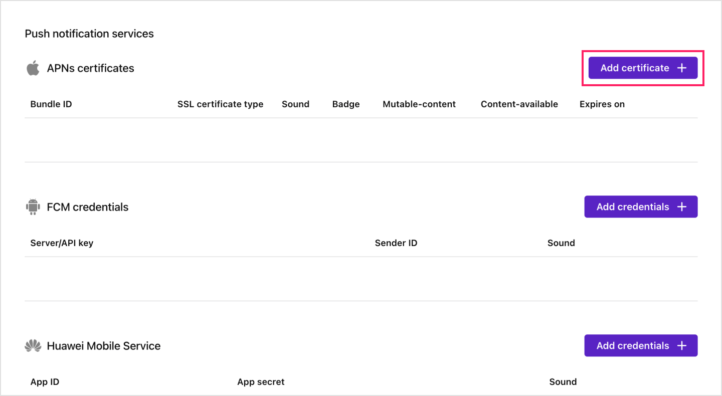Image Adding your .p12 file for APNs on the Sendbird Dashboard.