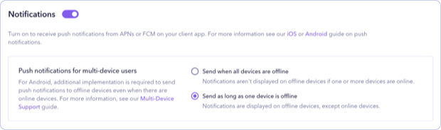 Turning on FCM push notifications for multi-device users in Sendbird Dashboard.