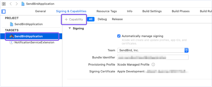 Clicking + Capability to add your Sendbird application to your client app in the Signing & Capabilities tab.