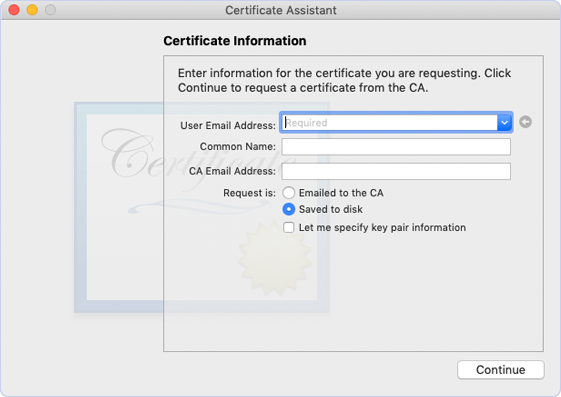 Entering the required information in Certificate Infrormation dialog.