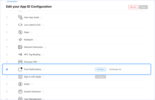 Enabling Push notifications option for configuration in the Edit your App ID Configuration.
