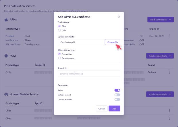 Uploading and registering your .p12 file for APNs in Sendbird Dashboard.
