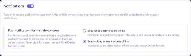 Turning on APNs push notifications for multi-device users in Sendbird Dashboard.