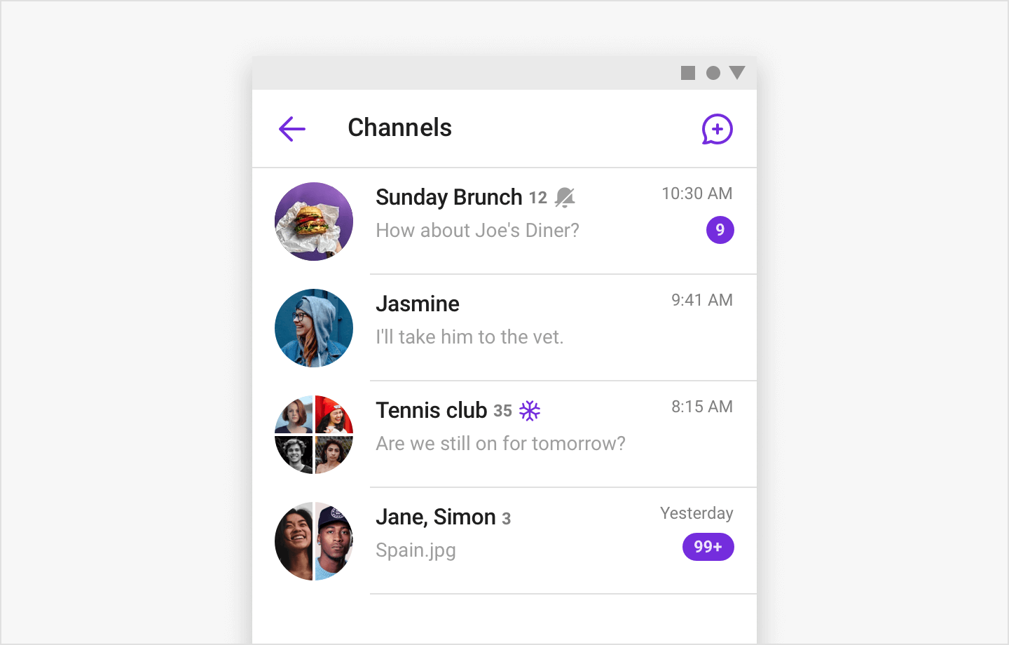 Image|ChannelListFragment listing user's group channels in view.