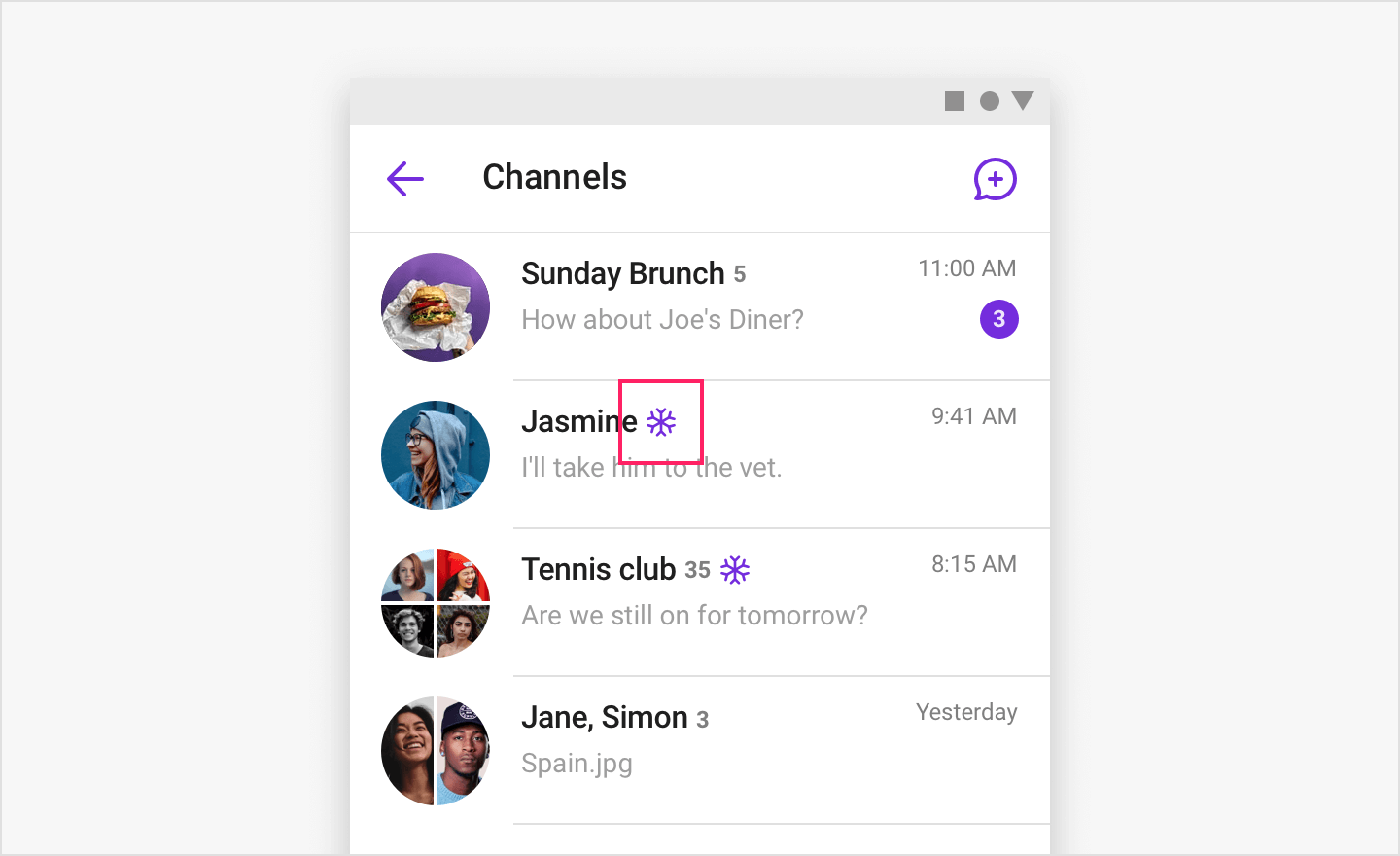 Image Channel list view showing the frozen channel icon.