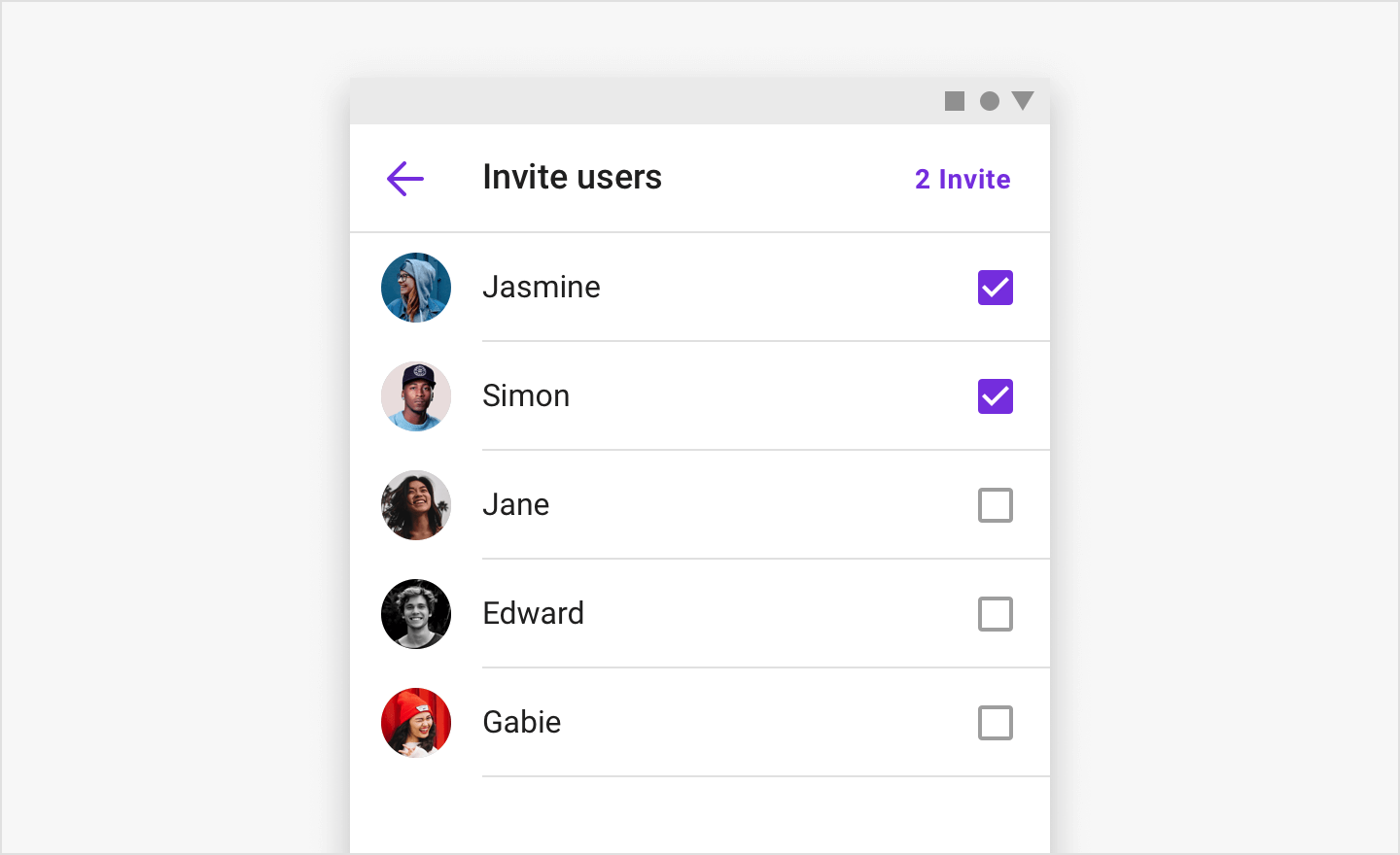 Image|InviteChannelFragment, which let you list users to invite to a group channel in view.
