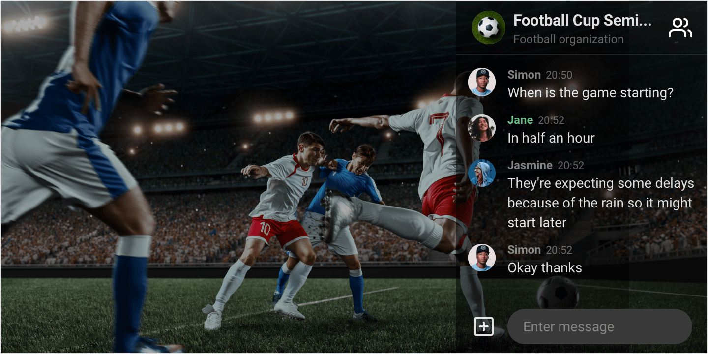 Image|Overlay mode in use for a football game streaming