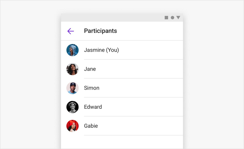 Image|ParticipantListFragment shows a list of participants.