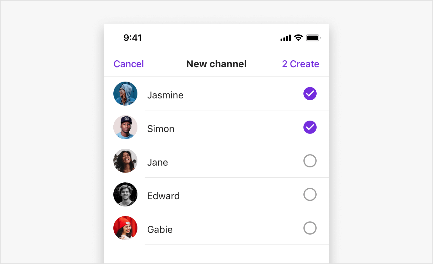 Image|Two users are selected from the user list in the New channel view.