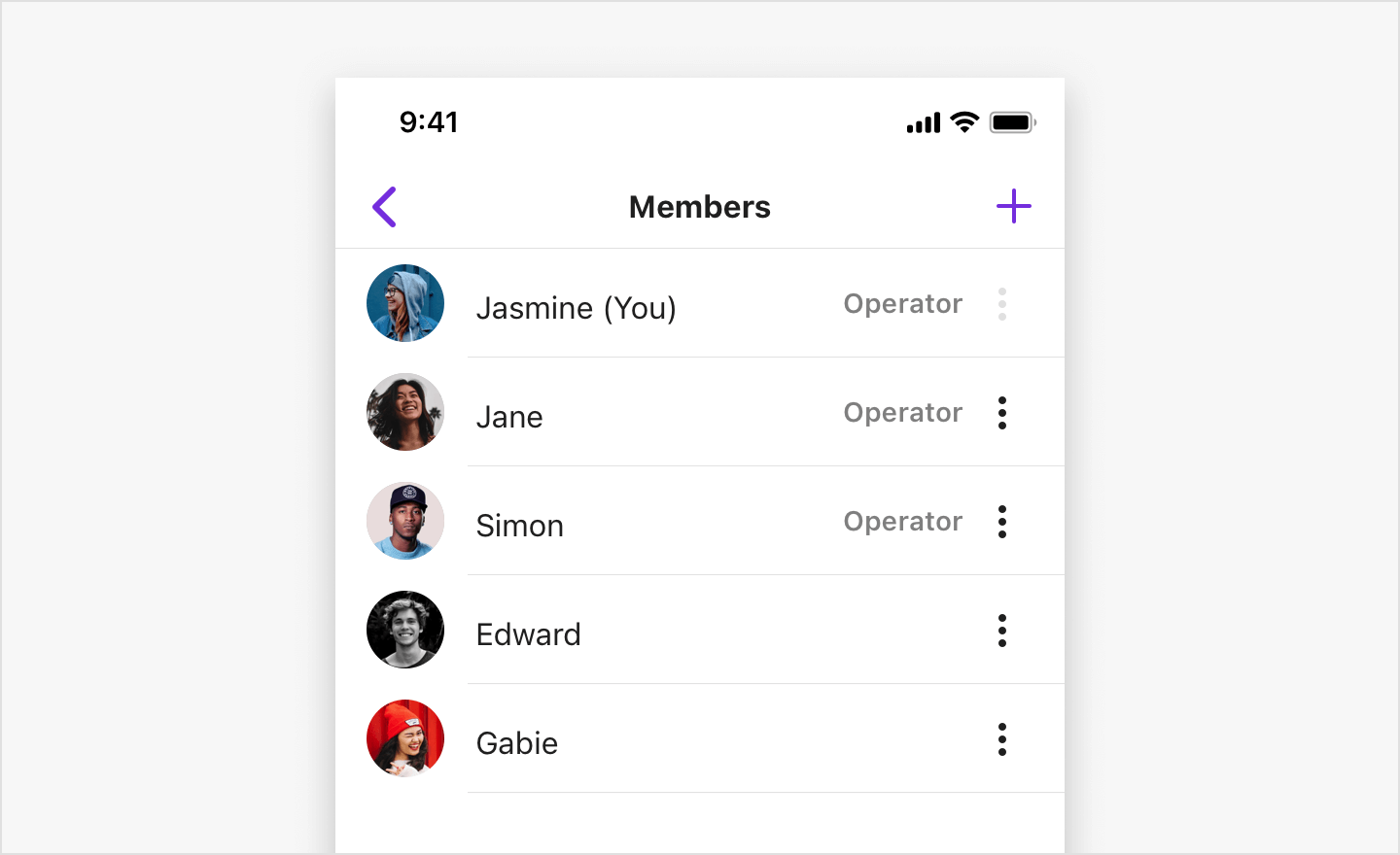 Image|SBUMemberListViewController listing the operators and normal members of a group channel in view.
