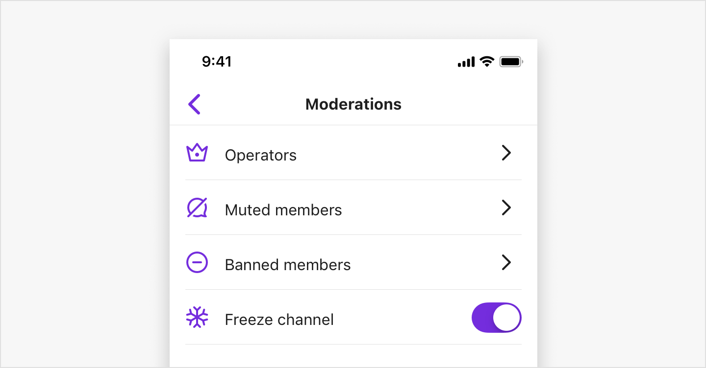 Image|Showing the moderation menu list.