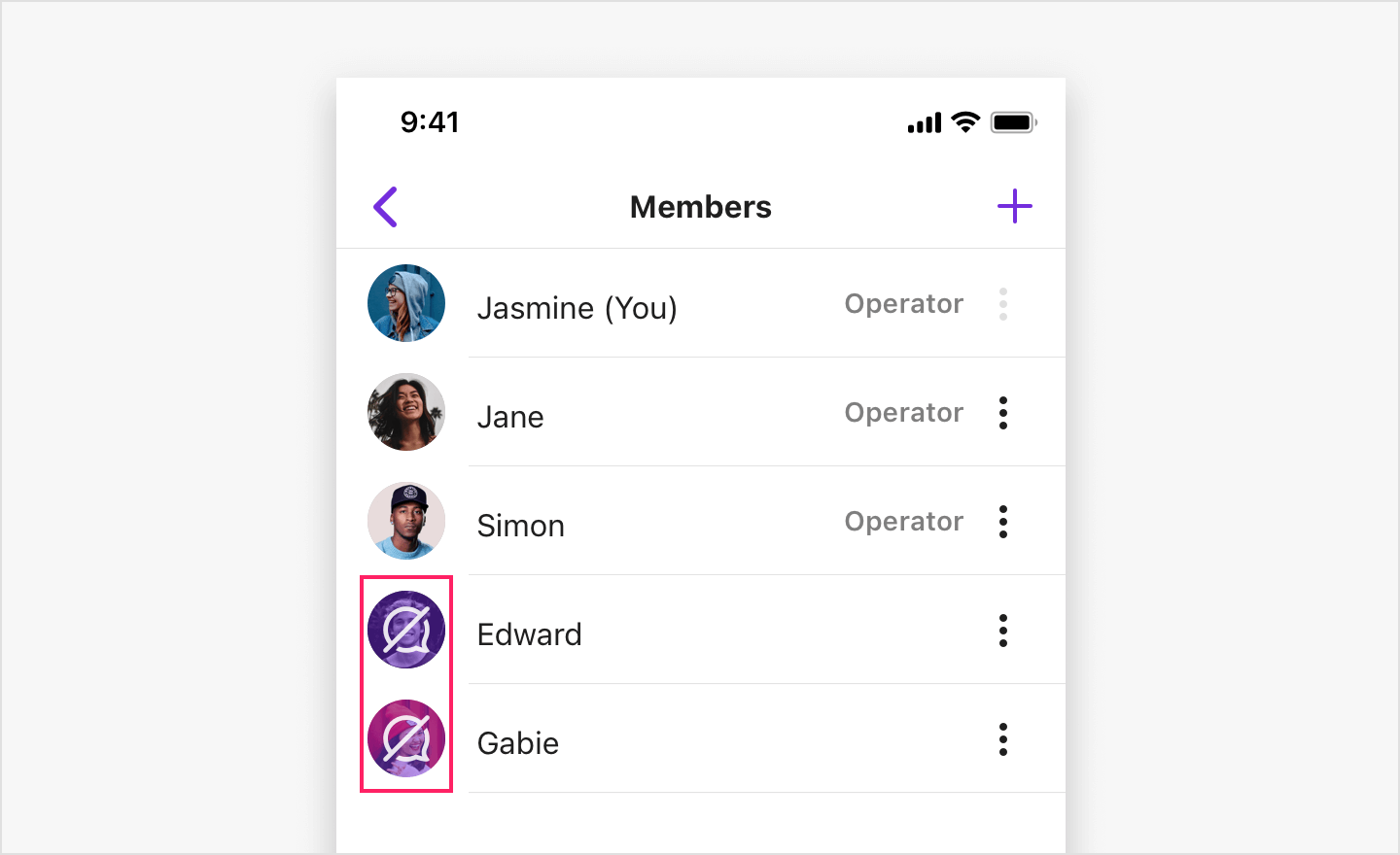 Image|Channel member list view showing muted members with the mute icon.