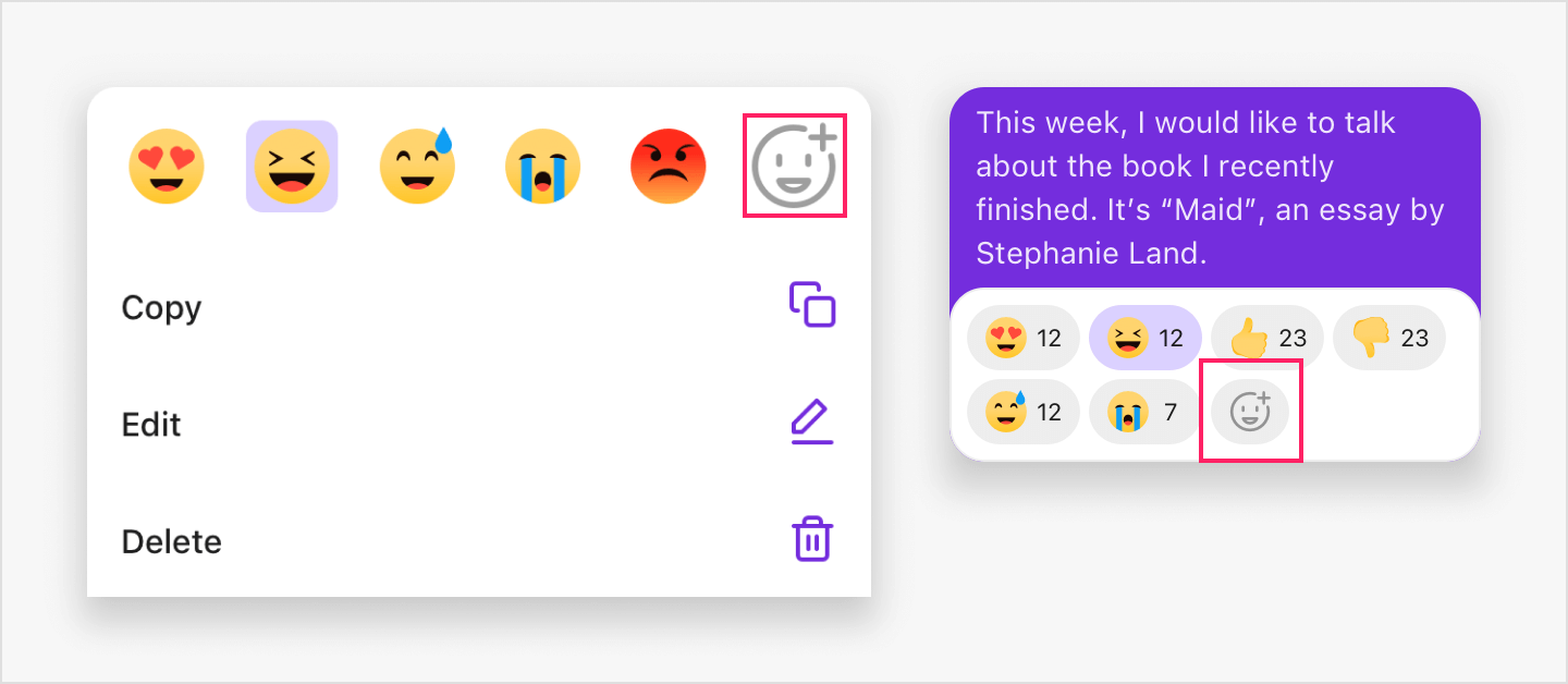Image|Add reaction button is highlighted in the emoji reaction bar and box.
