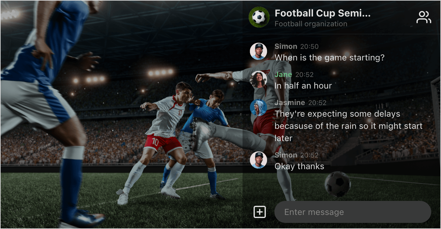 Image|Overlay mode in use for a football game streaming.