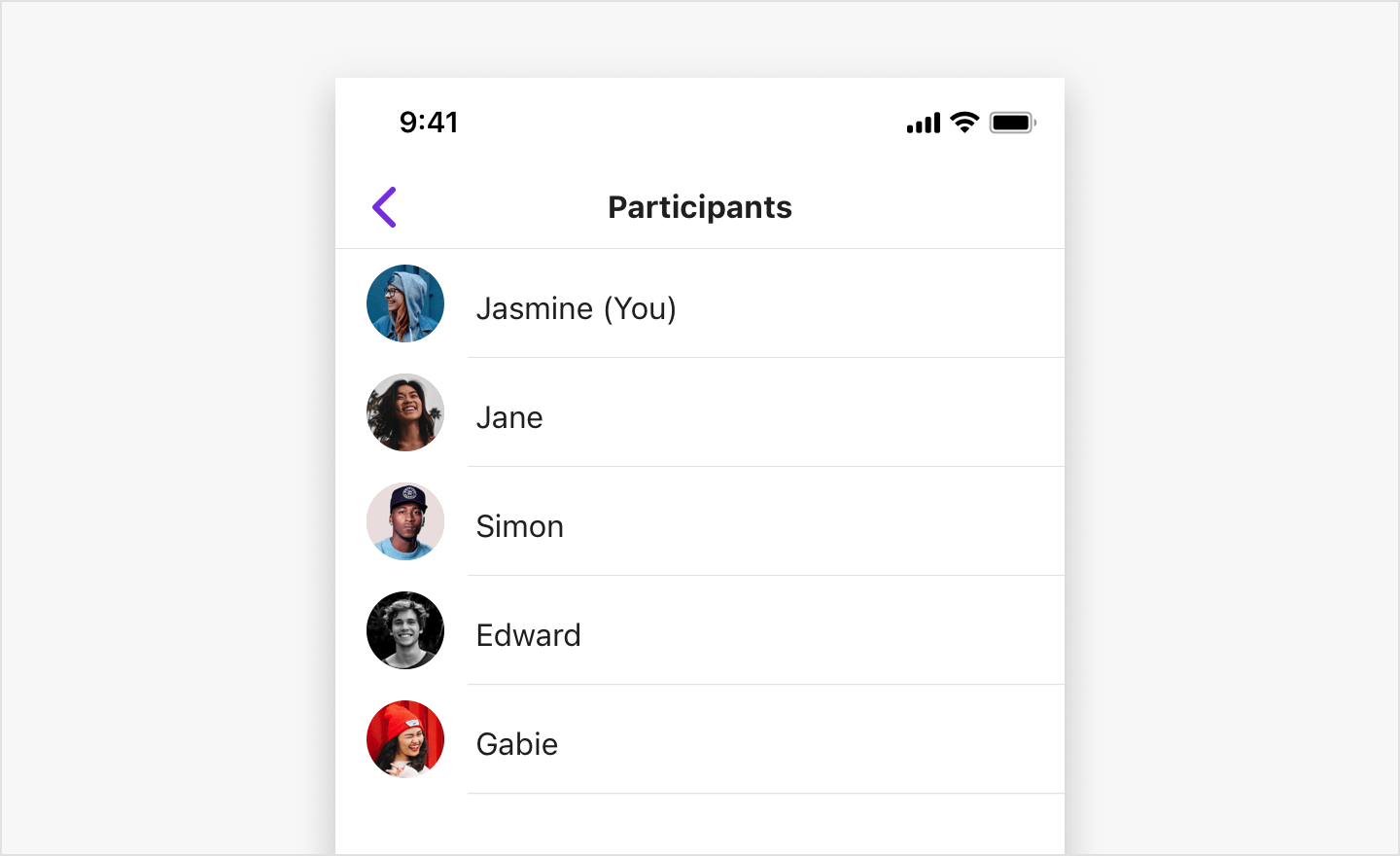 Image|SBUMemberListViewController shows a list of participants.