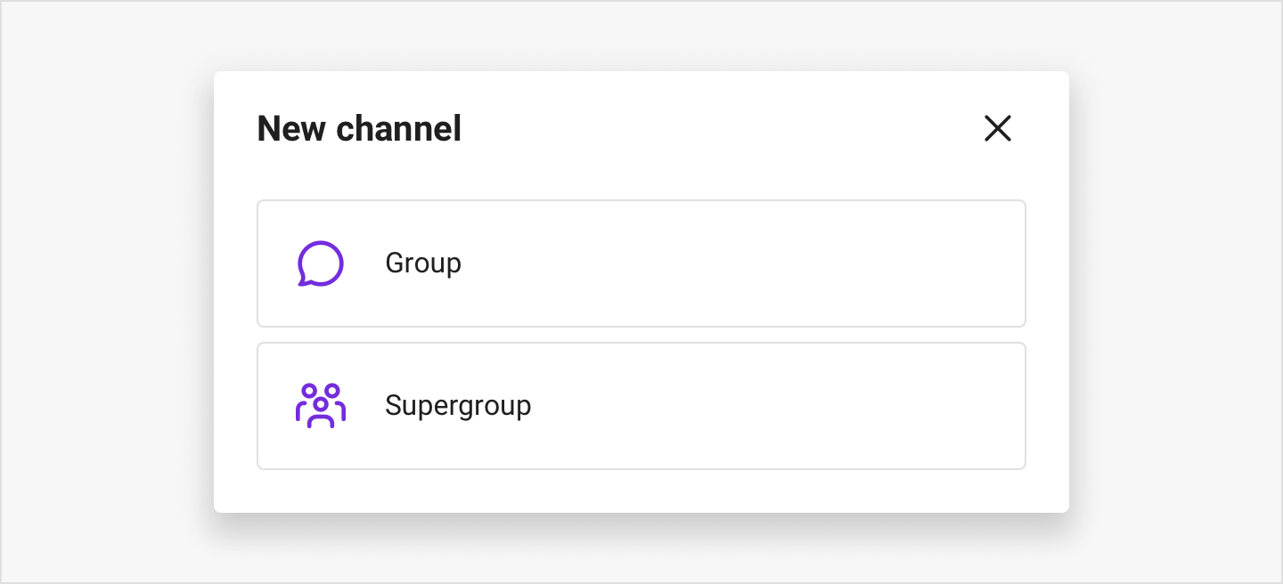 Image|New channel view providing three types of channel to create: Group, Supergroup, and Broadcast.