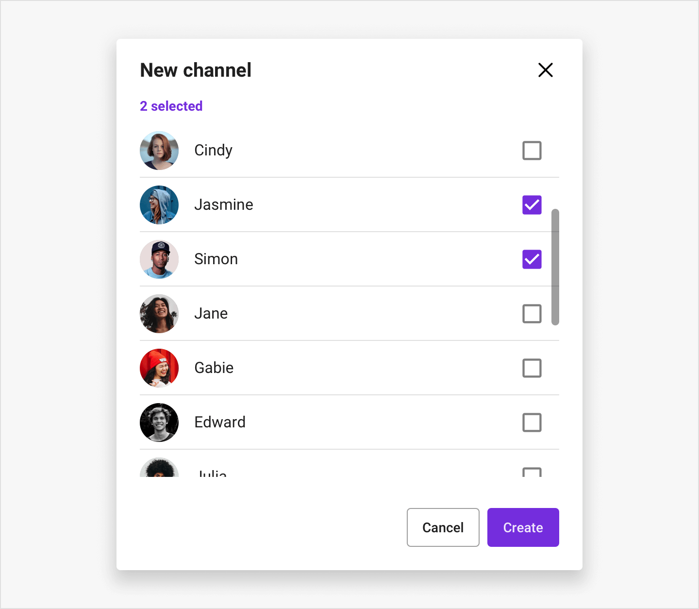 Image|Select users view showing a list of users to invite to a group channel.