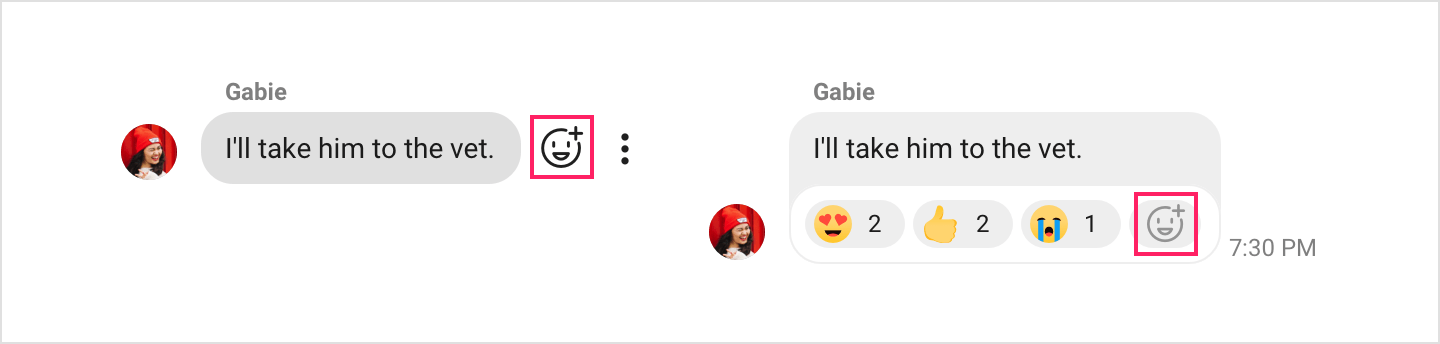 Image Add reaction button is highlighted in the emoji reaction bar and box.