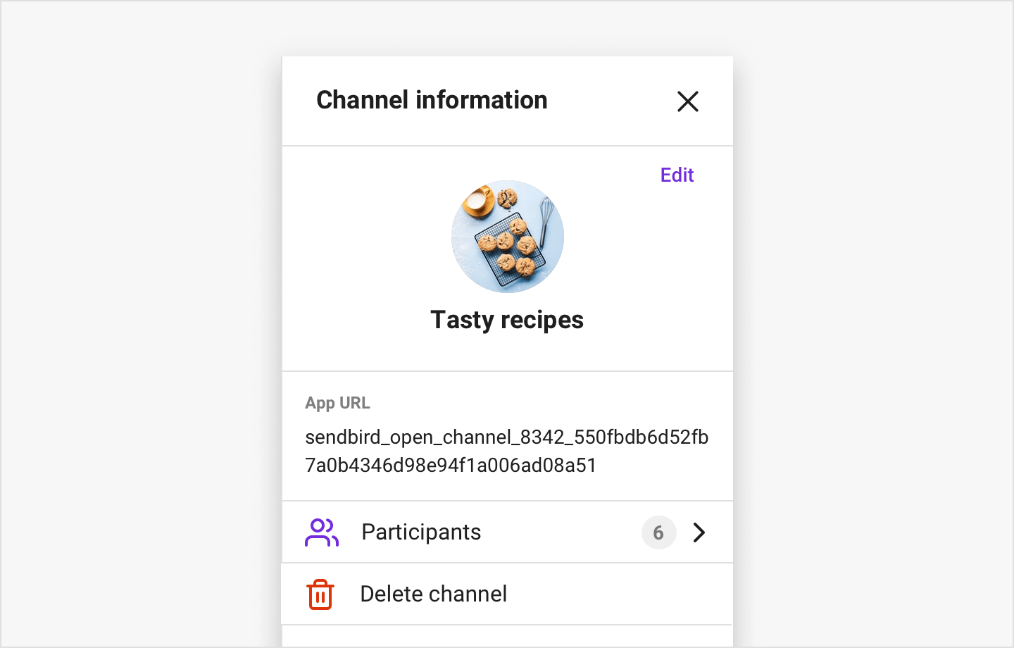 Image|OpenChannelSettings shows channel information and allows you to edit it.