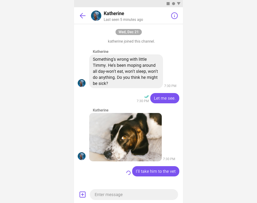 ChannelFragment sending a message in chat view.