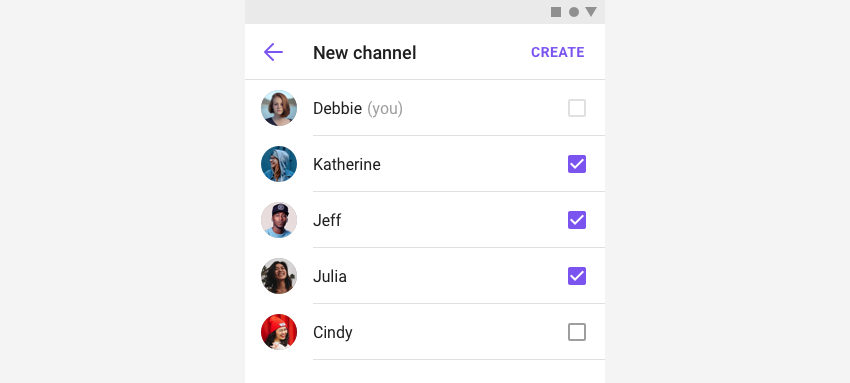 CreateChannelFragment showing how to create a new group channel in view.