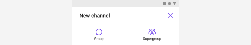 New channel view providing two types of channel to create: Group and Supergroup.