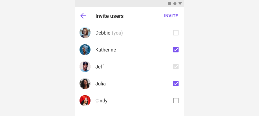 InviteChannelFragment, which let you list users to invite to a group channel in view.