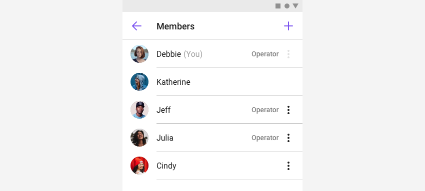 MemberListFragment listing the operators and regular users of a group channel in view.