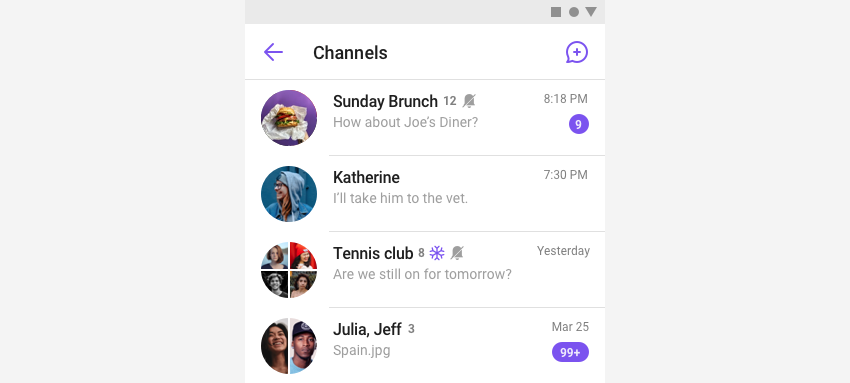ChannelListFragment listing user's group channels in view.