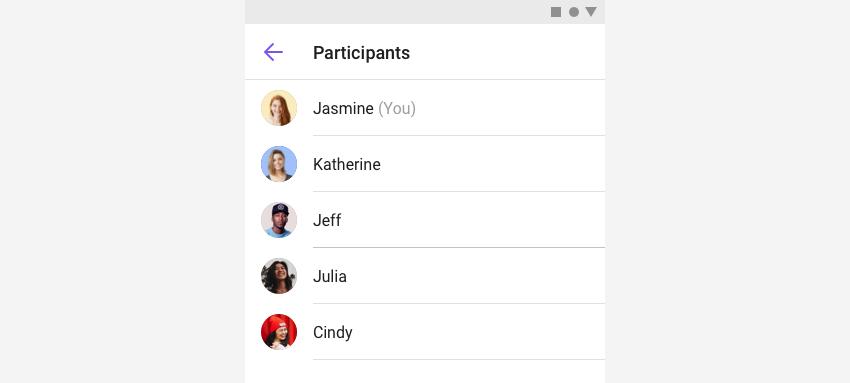 ParticipatnListFragment shows a list of participants.