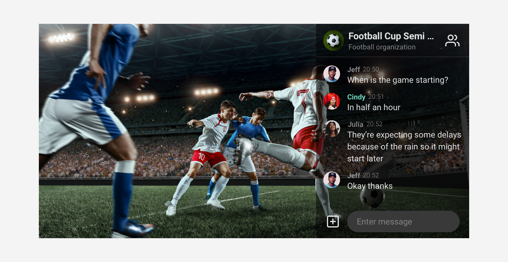 Overlay mode in use for a football game streaming