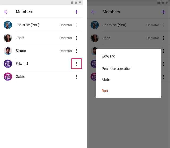 Showing how to ban a member in a channel member list view.