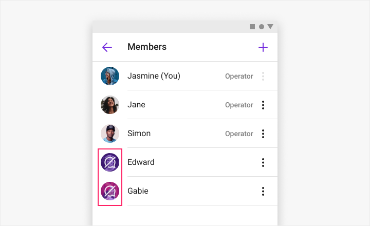 Showing the muted member list view.