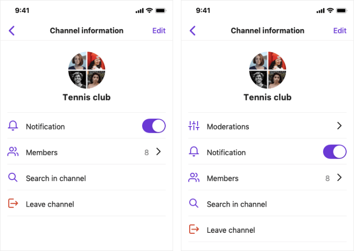 SBUChannelSettingsViewController, which provides you two types of channel information view with moderation menu and another without it.