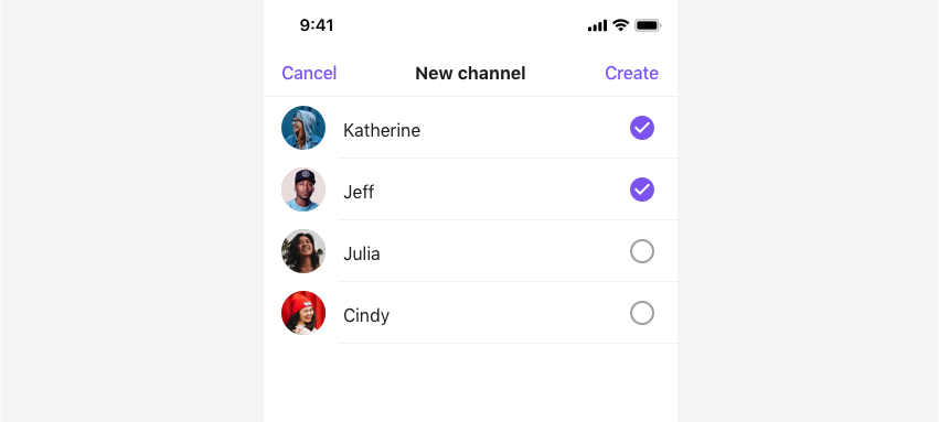 Two users are selected from the user list in the New channel view.