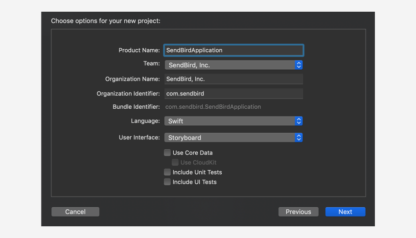 Setting up your project in the Create new project dialog.