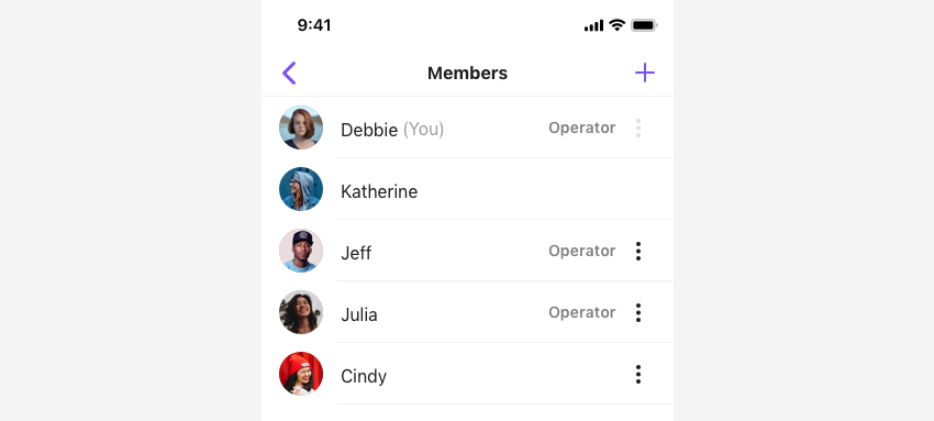 SBUMemberListViewController listing the operators and normal members of a group channel in view.