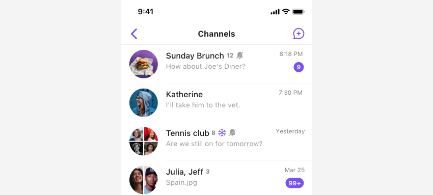 SBUChannelListViewController listing user's group channels in view.