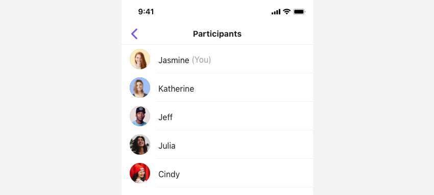 SBUMemberListViewController shows a list of participants.