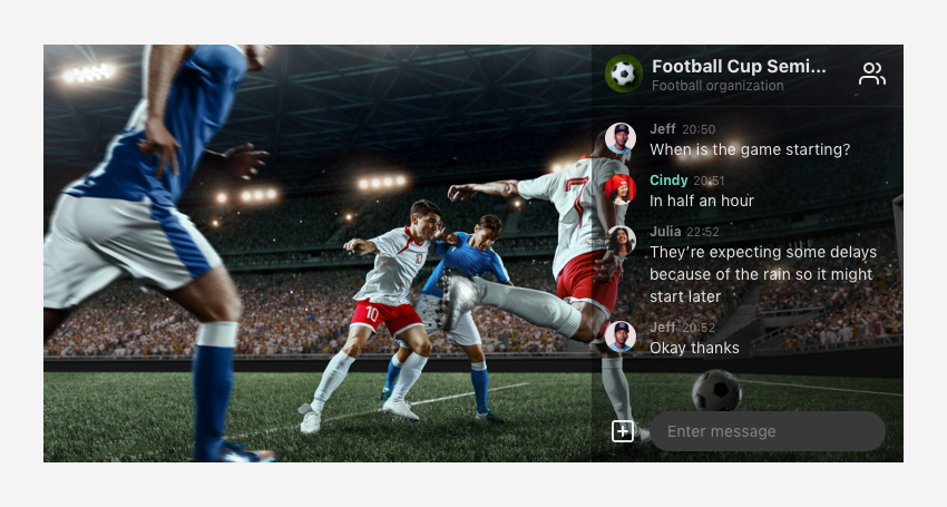 Overlay mode in use for a football game streaming.