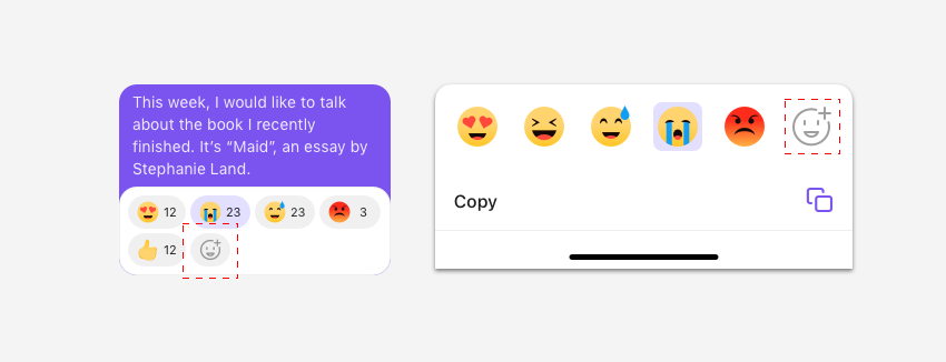 Add reaction button is highlighted in the emoji reaction bar and box.