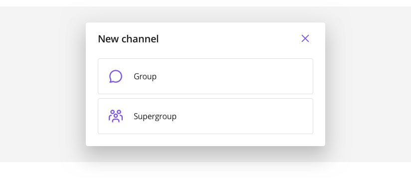 New channel view providing three types of channel to create: Group, Supergroup, and Broadcast.