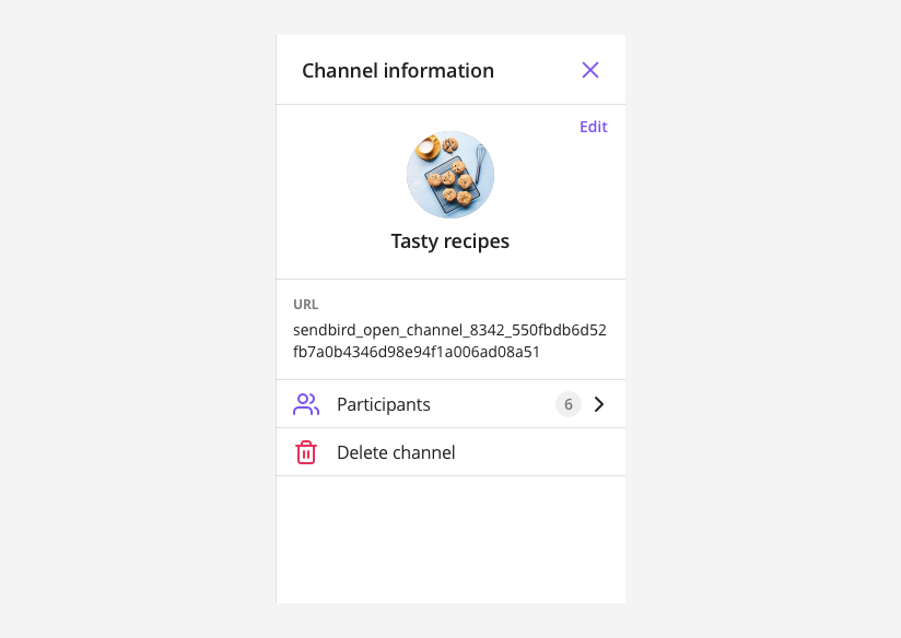 OpenChannelSettings shows channel information and allows you to edit it.