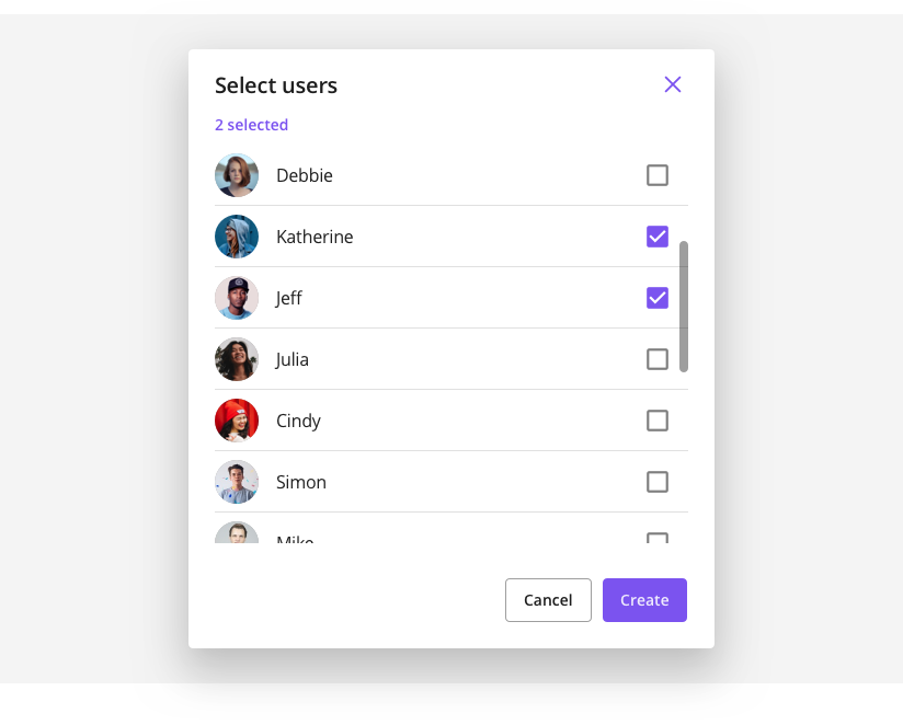 Select users view listing users to invite to a group channel.