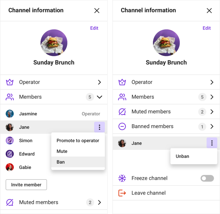 Showing how to ban a member in the channel settings view.